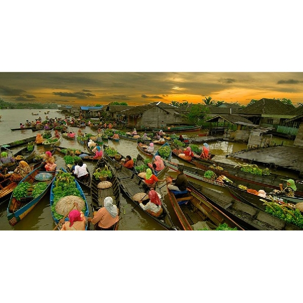 Geliat Pasar Apung Lok Baintan Banjarmasin di Pagi Hari