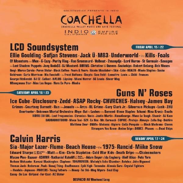 Guns N 'Roses, LCD Soundsystem dan Calvin Harris Bakal jadi Bintang Utama di Festival Coachella