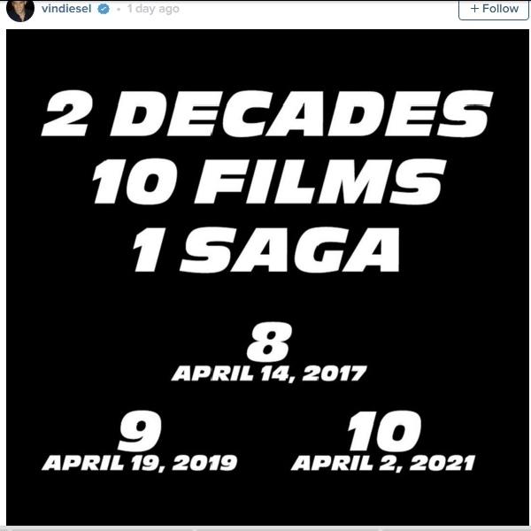 Vin Diesel Tegaskan Tanggal Rilis 3 Film Fast & Furious
