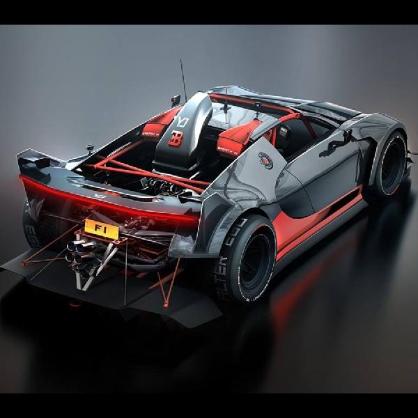 Rendering Bugatti Veyron Miliki Sirip Seperti Mobil Balap