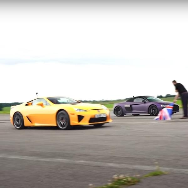 Drag Race Lexus LFA vs Audi R8 V10 Spyder