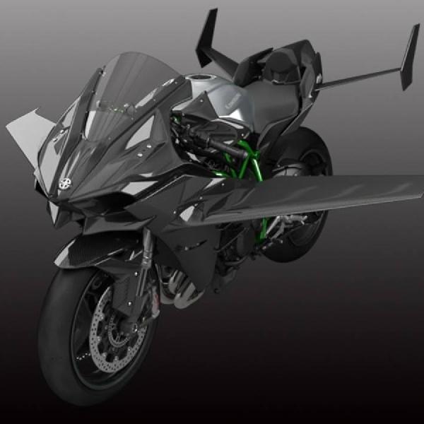 Kawasaki H2R Pakai Sayap Layaknya Pesawat Terbang