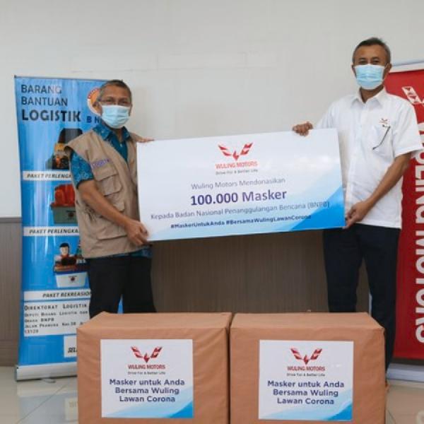 100 Ribu  Masker Non Medis Diserahkan Wuling kepada Gugus Tugas Covid-19