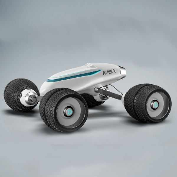 Rendering Kendaraan Sci-Fi Berlogo NASA Menyerupai Mobil Remote Controlled