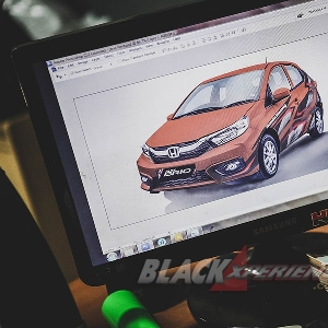 Modifikasi Body All New Honda Brio dengan Cutting Sticker