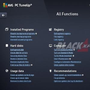 Menu AVG PC TuneUp All Functions