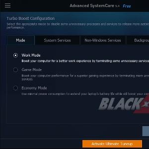 Menu Turbo Bost Configuration Advance System Care