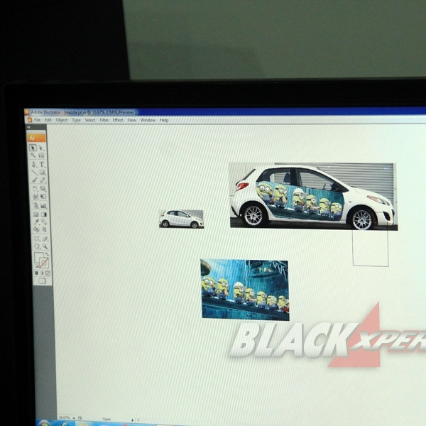 Kolaborasi Glow Auto dan Dice Sticker Jadikan Mazda2 Full Cutting Sticker