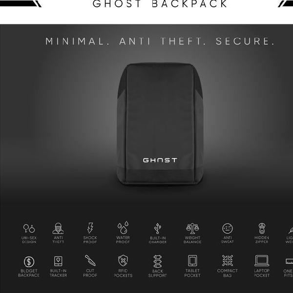 Ghost Backpack, Tas Pintar dan Tangguh, Anti Hilang