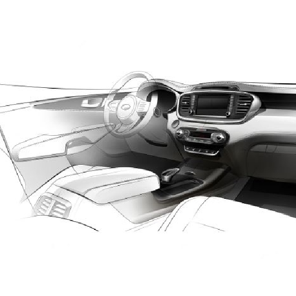 Prinsipal rilis sketsa interior Kia Sorento 2015