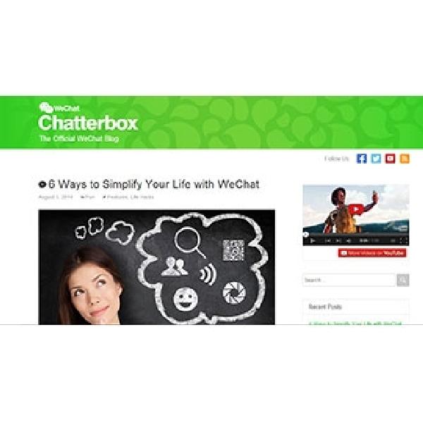 Blog Resmi Chatterbox dan YouTube Channel Diperkenalkan WeChat