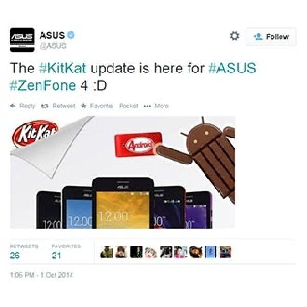 Sekarang Asus ZenFone 4 Sudah Bisa Upgrade KitKat