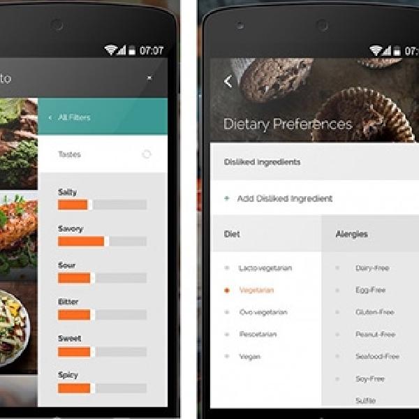 Yummly, Aplikasi Pencari Resep Makanan Telah Tiba Di Android